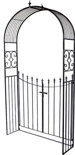 Tür metall  Rosenbogen mit Tür Metall dunkelbraun B 130 cm Spalier ...
