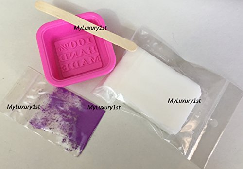Make Your Own DIY Handmade Soap Bar Making Mold, Melt and Pour White Shea Butter Sample Base, 1 Gram Purple Violet Lilac Pigment Powder