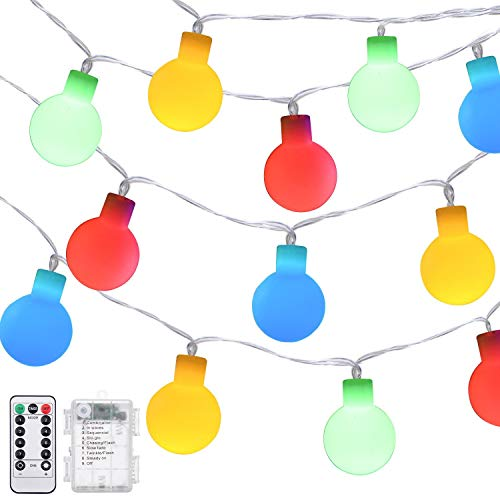 echosari [Remote & Timer] 16 Feet 50 LED Outdoor Globe String Lights 8 Modes Battery Operated Frosted White Ball Fairy Light(dimmable, Ip65 Waterproof, Multicolor)]()