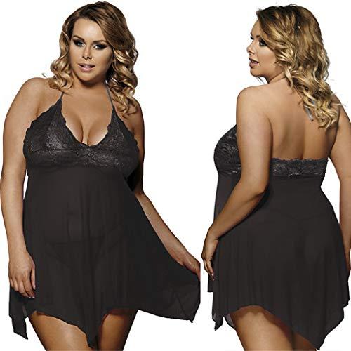 NEARTIME Women Sexy Sleepwear Lingerie for Women Halter Chemise Lace Babydoll Mesh Nightwear ()