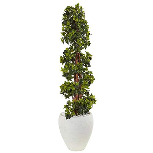 - Artificial Tree -4 Foot English Ivy Topiary Tree with White Oval Planter