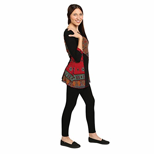 Women's Tunic Top - Festival Tribal Black & Multicolor 3/4 Sleeve Shirt - 1X