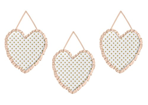 Sweet Jojo Designs Peach, Gold and White Wall Hanging Decor for Watercolor Floral Collection - Set of 3 (Jojo Wall Hanging Designs)
