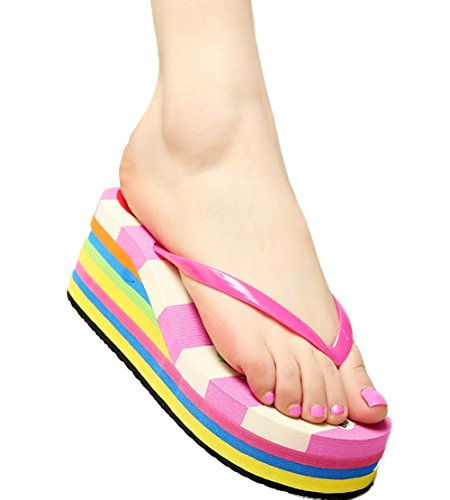 Rose Candy Flip Platform Wedge Womens Flops Thong Summer Sandals Beach WenHong Knotbow Shoes AfRxw
