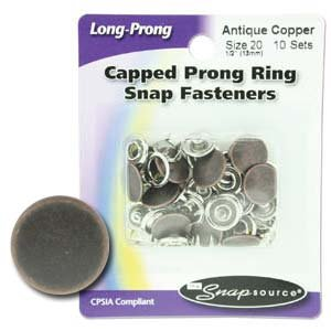Snap Size 20 Fasteners, Capped Prong Antique Copper Color - 10 Sets