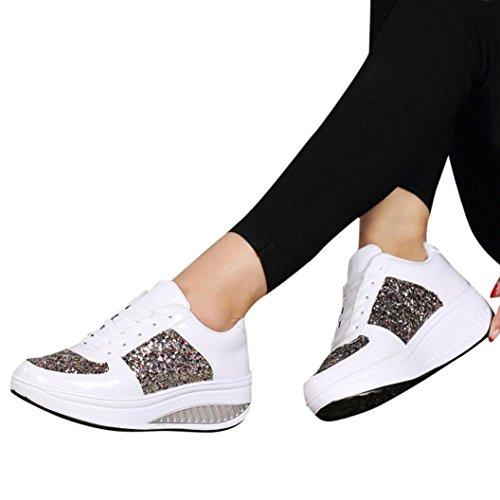 donna Donna stringate elegante scarpe da Elecenty Estive scarpe zeppa scarpe donna sportive paillettes con fashion Sneakers Bianco scarpa WUHAca
