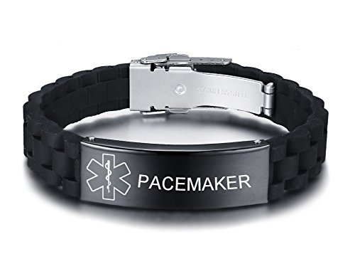 VNOX Pacemaker Medical Alert ID Black Silicone Rubber for sale  Delivered anywhere in Canada