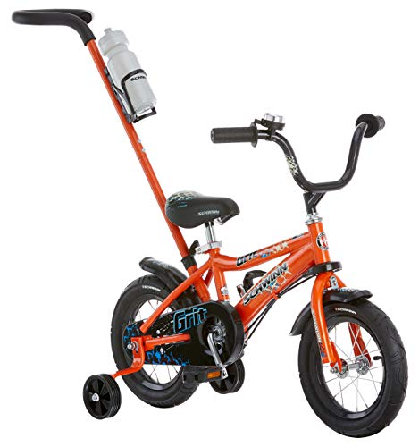 Schwinn Grit Steerable Kids Bike, Featuring Push Handle for Easy Steering, Training Wheels, Enclosed Chainguard, Quick-Adjust Seat, and 12-Inch Wheels, - Kids Cycle
