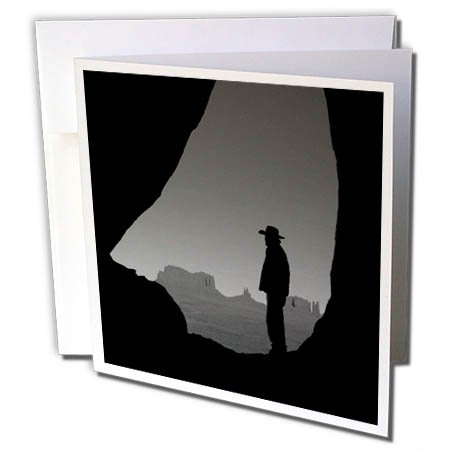 Teardrop Monument - 3dRose Greeting Card Navajo Indian Guide, Teardrop Arch, Monument Valley, Arizona, USA, 6 x 6