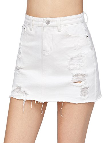 Verdusa Women's Casual Distressed Fray Hem A-Line Denim Short Skirt White M (Denim Fray)