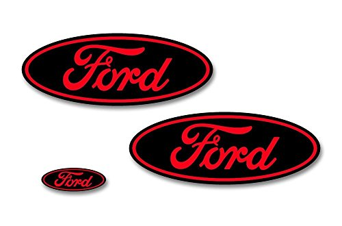 Factory Crafts Ford F-150 2015-2017 Front, Rear, and Steering Wheel Ford Oval Overlays Graphics Kit 3M Vinyl Decal Wrap - Matte Black and Dark Red