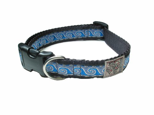 "Adjustable 1"" Silverfoot Dog Collar - Wave Blue / 17""-24"""