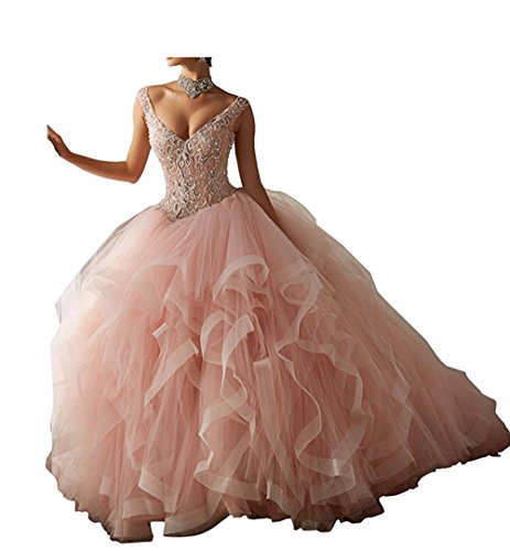 Diandiai V-Neck Ball Gown Quinceanera Dresses Tulle Beads Long Prom Dress Dusty Pink 12