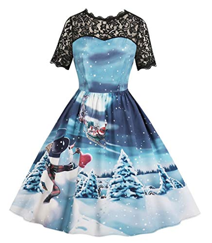Seazoon Womens Christmas Blue Dress Vintage Party Swing Smocked Santa Claus and Reindeer Dresses for Women SE43 513 M