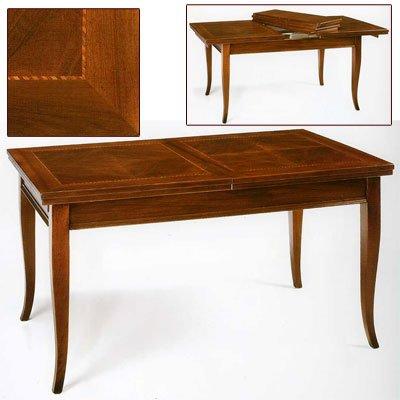 Tisch, Esstisch Nußbaum cm 160x90 + 4 Verlängerung - Italienischer Produktion