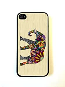 iPhone 5 5S Case ThinShell Case Protective iPhone 5 5S Case Elephant On Wood Design