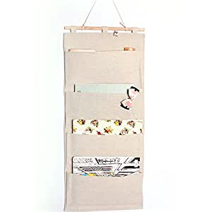 "Luoka Over the Door Magazine Storage Pockets Hooks Books Organizational Back to School Office Home, 14'W x32""H, Cotton Fabric Hanging Storage Bag"
