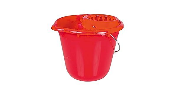 Rosaenzo Minerva Redondo Cubo con exprimidor, Color Rojo, 12 litros: Amazon.es: Hogar