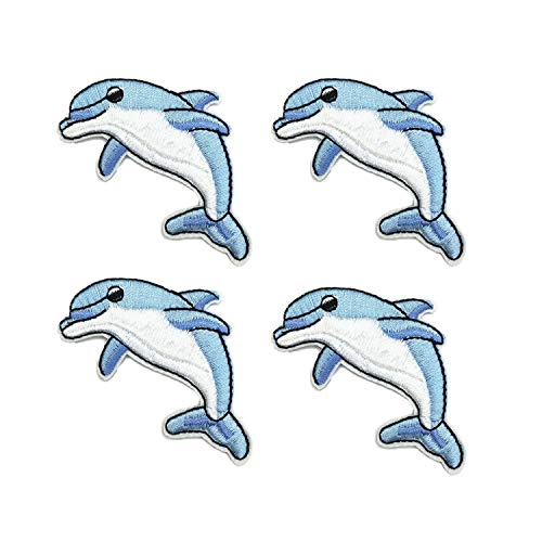YOUOR 4pcs Dolphin Embroidery Patch Ocean Animal Applique DIY Clothes Decoration Iron on Patches Sew On Applique -