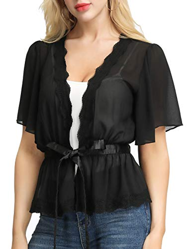 Ladies Casual Solid Short Sleeve Lace Open Front Sweater Cardigan (M,Black)