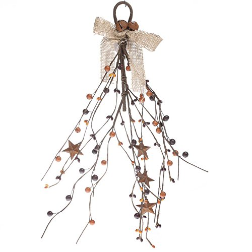 Factory Direct Craft Group of 3 Hand Wrapped Autumn Mixed Berry and Rusty Star Door Hanger for Home Decor, Primitive Accenting and Creating