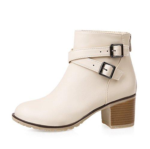 Vokamara Damen Martin Stiefel Chunky Heel Ankle Boots Stiefeletten mit Doppel Nieten Schnalle Beige