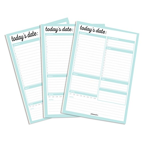 Daily Planner To-Do List Notepad (3-Pack (Teal))