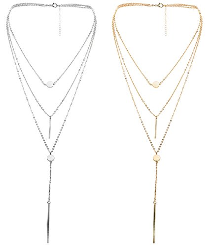 Thuanraz 1-2Pcs Womens Layered Choker Necklace Pendant for Girls Multilayer Chain Choker Stick Necklace Gold Silver Tone