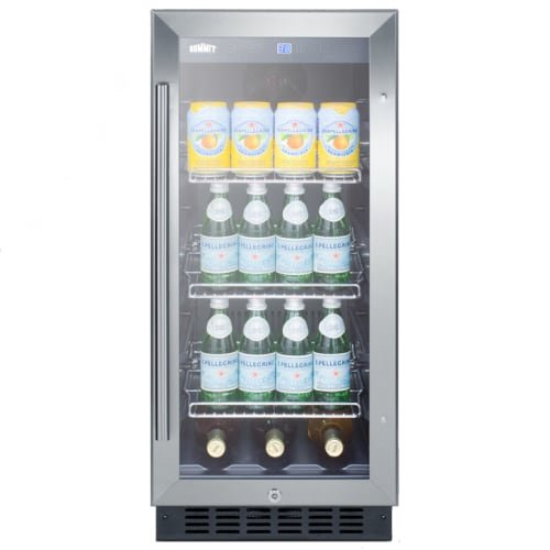 Summit SCR1536BGCSS Undercounter Beverage Refrigeration, Glass/Stainless-Steel (Refrigerator Glass Summit Undercounter)