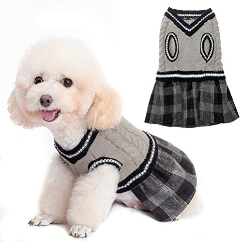BINGPET Cute Dog Sweater Dress - Warm Pullover Puppy Cat Knit Clothes with Classic Plaid Pattern for Fall Winter