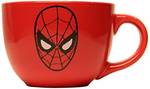 Silver Buffalo MC6924 Marvel Spiderman Mask Soup Mug, 24 oz., Red
