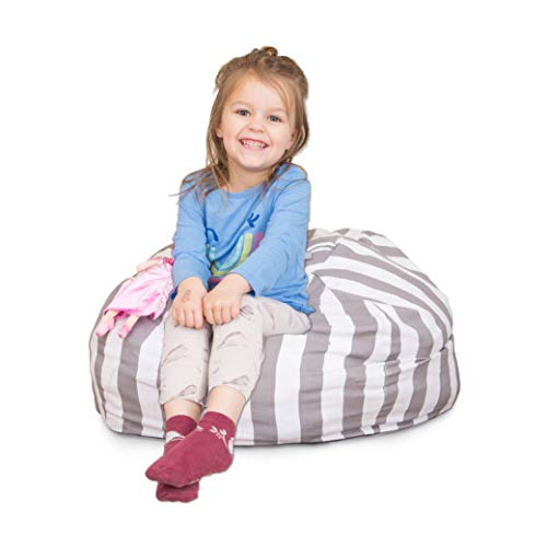 Stuffed Animal Bean Bag Chair for Kids, Large Storage for Toys and More, Gray and White Stripe Lounger for Children, 27