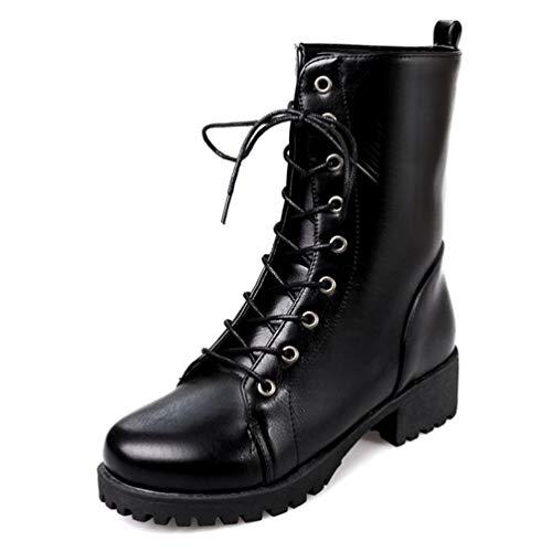a4ddaa305ee15 DETAWIN Women Winter Mid Calf Sonw Boots Round Toe Lace-Up Warm Fur Low  Heels Motorcycle Boot
