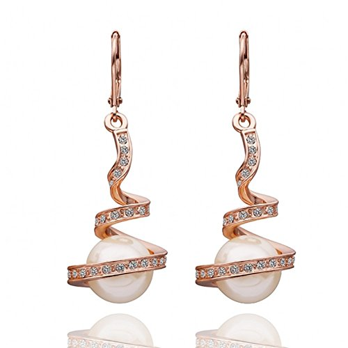 AOVR Fashion Women's 18K Gold Plated Crystal Pearl Party Spiral Drop Earrings (Rose Gold)