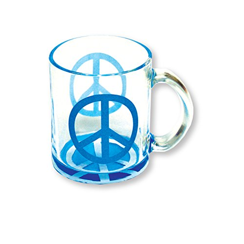 Glass Mug Coffee and Tea Cup 12 oz Neon Peace Sign - Dishwasher Safe Mug (Blue)