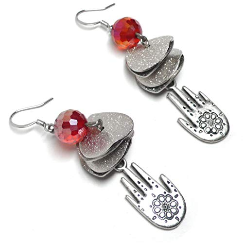 Pewter Hamsa Hand Protective Amulet Pierced Earrings Coral-Red Glass