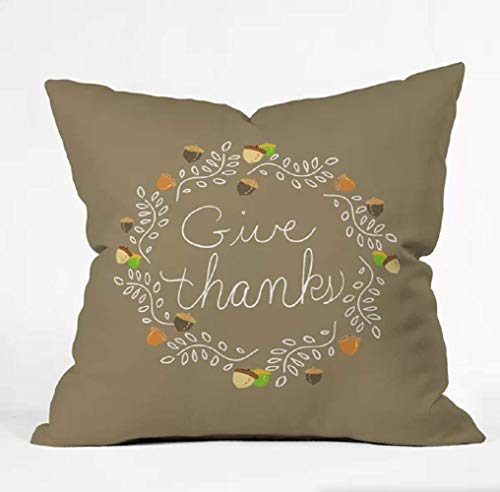 East Urban Home Giving Thanks Throw Pillow in Tan - (18'' H x 18'' W) Polyester, Weather Resistant Finish, Insert/Cushion Pad Included from East Urban Home