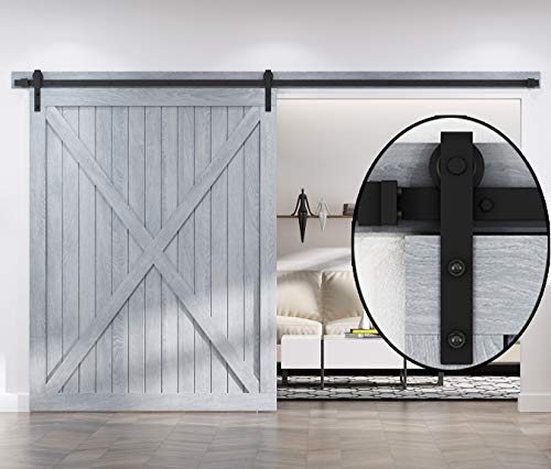 EaseLife 10 FT Heavy Duty Sliding Barn Door Hardware for Wide Opening and Two Openings(10ft Single Door Kit)