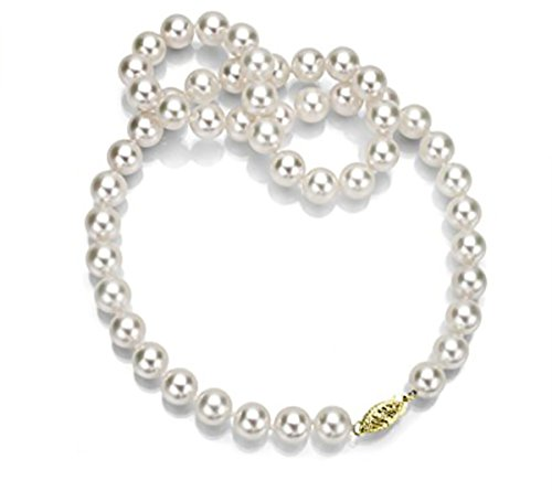 14K Yellow Gold White Japanese Cultured Akoya Pearl Necklace Bridal Wedding Gift 18 inch 7.5-8mm