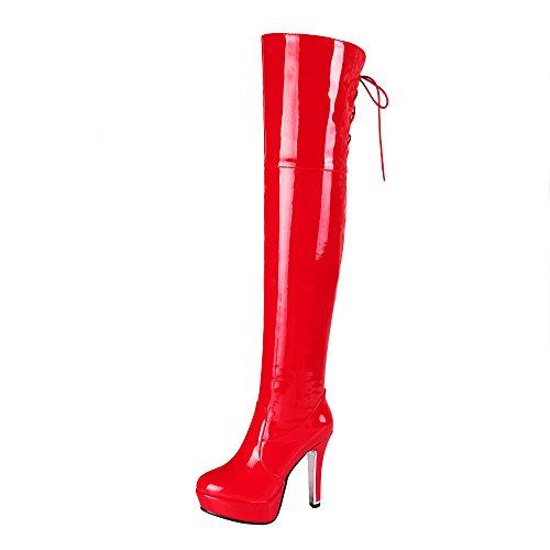2820cc2721aae9 YE Damen Overknee Stiefel Lack Stiletto High Heels Plateau mit  Reißverschluss und Schnürung 12cm Absatz Elegant