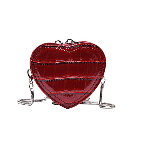 LIM&Shop  Women Crossbody Bags Bucket Bag Snake Print Leather Purse Summer Retro Girls Shoulder Bag Casual Heart Shape Red ()