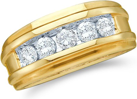 Size - 13 - 14k Yellow and White Two 2 Tone Gold Large 5 Five Stone Classic Channel Set Round Cut Mens Diamond Wedding Ring Band 8mm (1/4 cttw)