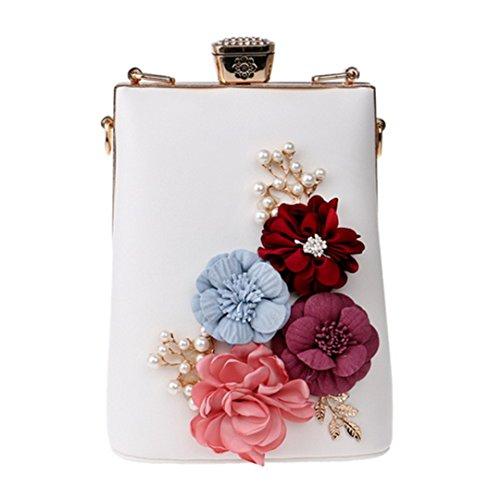 Messenger Shoulder Bags Flower Bag Party Handbags Beaded For Evening Ym1199white Evening xnPfC