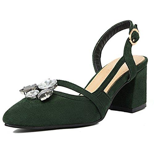 AIYOUMEI Damen Spitz Wildleder Slingback Blockabsatz Pumps mit Strass und Schnalle Elegant Sommer Sandalen Schuhe Grün