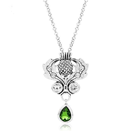 - Nattaphol Outlander Necklace Scotland Thistle Crystal Oval Pendant Necklace Celtic Knot National Flower Chain Necklace for Women