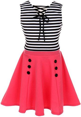 Little Girl Sleeveless Striped Dress Set Crop Top Easter Casual Flower Girl Dress (20JK74S) Coral ()