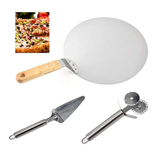 Guador Pizza Shovel Pizza Peel met Hout Handvat 10 Inch Rond RVS en Dubbele Snijwiel en Cake Shovel voor het bakken van…