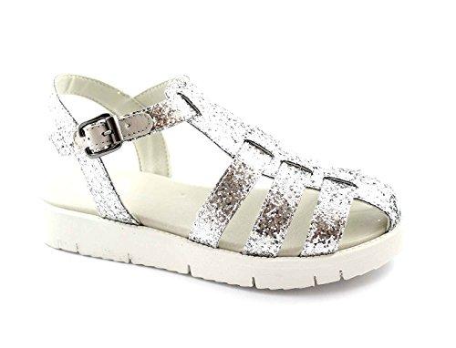 Grünland MAGE SA1034 sandalias de plata punta cerrada rayas mujer brillo Argento