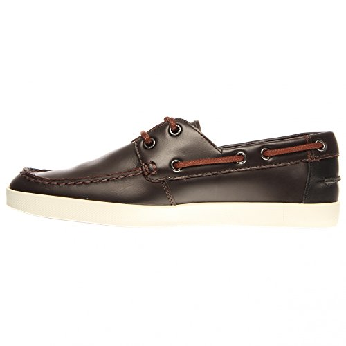 Lacoste Mens Båt Skor Keellson Premium Två Mörkbrunt Läder Mörkbrun