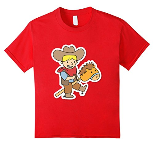 Kids cute cowboy on toy horse stick shirt 6 Red